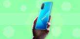 phone, poco, pcoo f3, blue, green background
