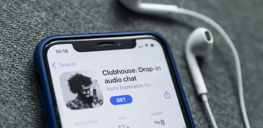clubhouse header, app in phone, audio app