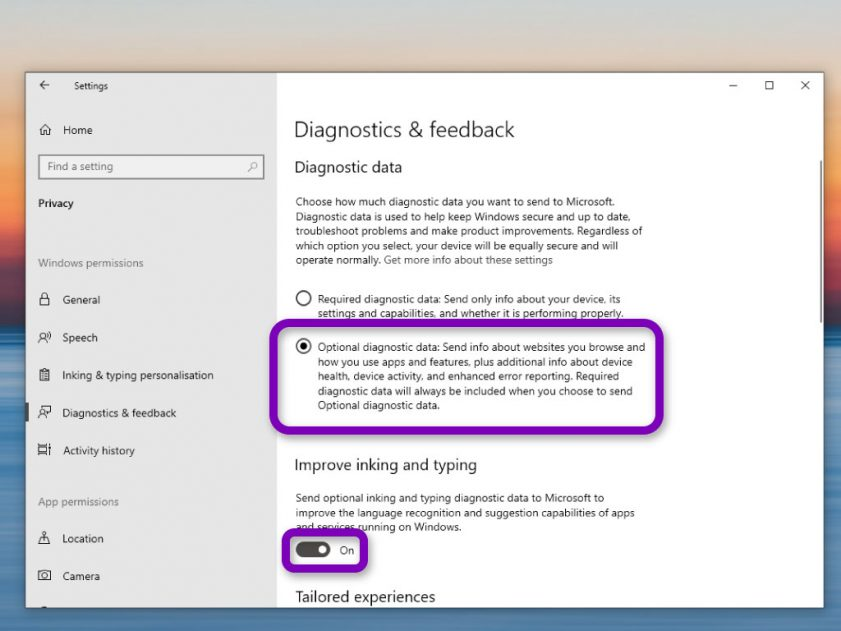 optional diagnostic data 2   TechBuyGuide